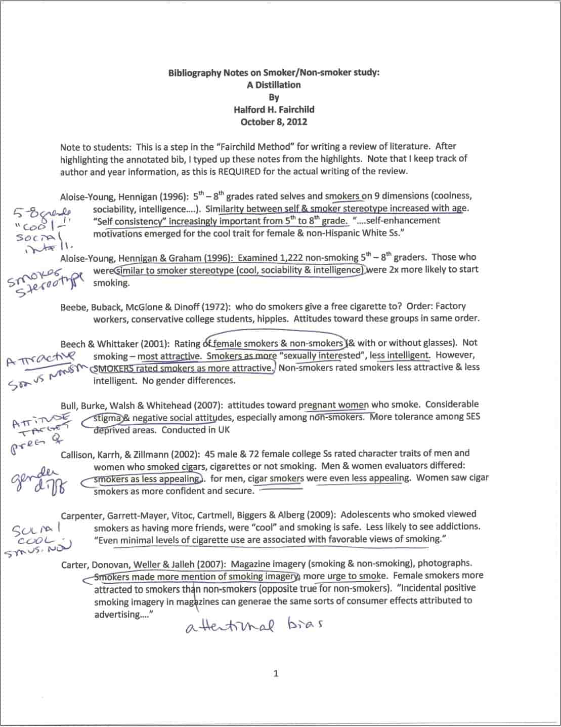 sample highlight for annotated bibliography